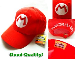 Super Mario Bros Anime Cosplay Red Mario M Cap Hat